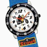 Scout Motorbike 280378095 Boys' Analog Quartz Watch with Fabric Strap, Pouch Included