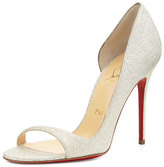 Christian Louboutin Toboggan Glitter Leather Red Sole Pump, Ivory