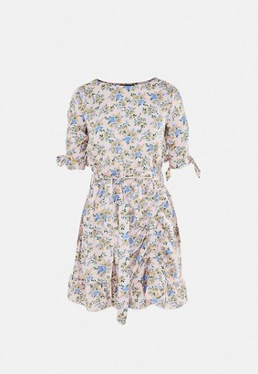 Missguided Pink Floral Ruched Side Tea Dress