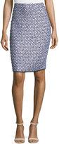 St. John Nala Tweed Pencil Skirt, Blue/White