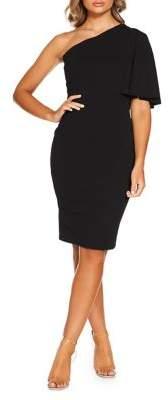 Quiz One-Shoulder Frill Sheath Dress