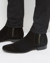 Asos Chelsea Boots In Black Suede With Contrast Elastic And Zip Detail