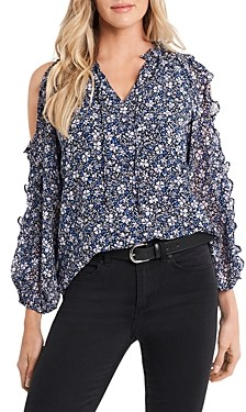 1 STATE Chateau Floral Print Cold Shoulder Top