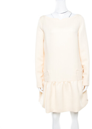 Victoria Victoria Beckham Soft Cream Summer Wool Flounce Dress L