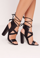 Missguided Cross Strap Lace Back Block Heeled Sandals Black