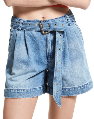 MICHAEL Michael Kors Belted Pleated Front Denim Shorts
