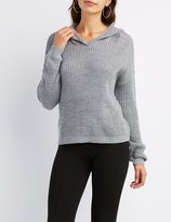 Charlotte Russe Shaker Stitch Oversized Hoodie