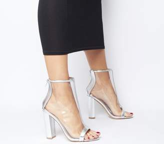 Office Accept Peep Toe Block Heels Silver Metallic