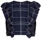 Sea Ruffled windowpane-plaid cotton top