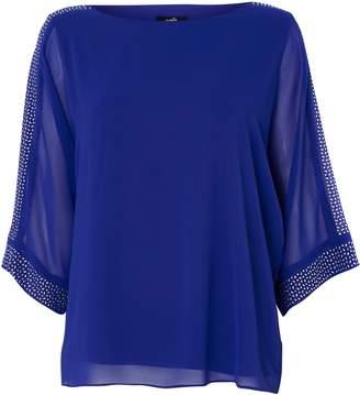 Wallis Blue Embellished Overlay Top