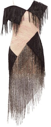 Christopher Kane Asymmetric Bead-fringed Gauze Dress - Black Pink
