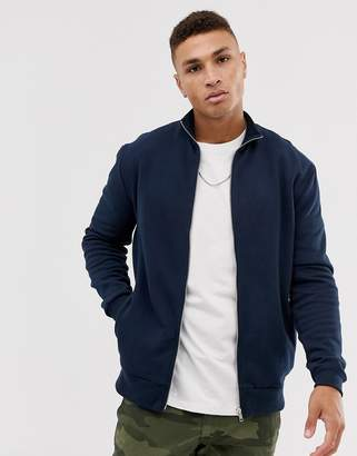 Design DESIGN jersey track jacket in navy