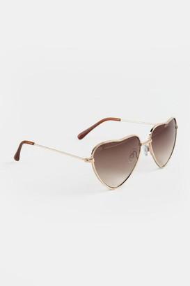 francesca's Brandi Rose Gold Heart Shaped Sunglasses - Gold