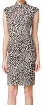 Calvin Klein Black Khaki Women's Size 6 Mock Neck Leopard Dress