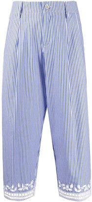 Ermanno Scervino embroidered striped cropped trousers