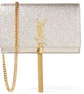 Saint Laurent Monogramme Kate Small Metallic Textured-leather Shoulder Bag - Silver