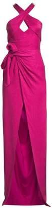 Flor Et. Al Lennox Snake Print Halter Gown