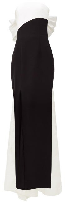 Rasario Bow-back Silk-blend Dupion Gown - Black White
