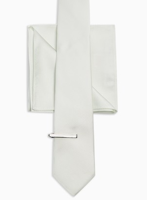 Topman 3 Mint Tie, Clip and Pocket Square Multipack