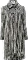 Lanvin tweed style buckle detail collar coat