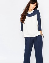Just Female Gibbs Blouse in White and Blue