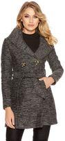 Quiz Grey Boucle Button Detail Tie Waist Coat