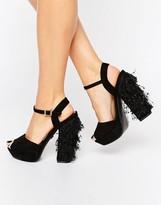 Daisy Street Tassle Platform Heeled Sandals