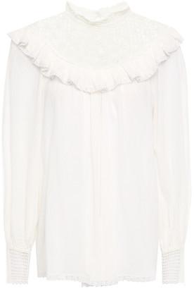 Zimmermann Guipure Lace-paneled Ruffle-trimmed Cotton-gauze Blouse