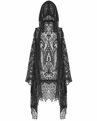 Punk Rave Womens Gothic Lace Hooded Waistcoat Cloak Cape Shrug Scarf Black Witch