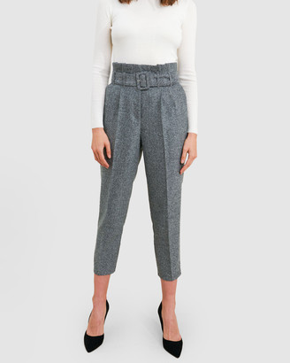 Forcast Ash Belted Herringbone Trousers