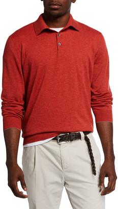Brunello Cucinelli Men's Long-Sleeve 2-Ply Cashmere Polo Shirt
