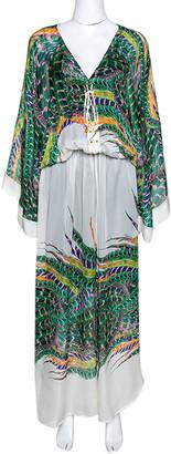 Roberto Cavalli Green & White Feather Print Silk Front Slit Detail Kaftan M