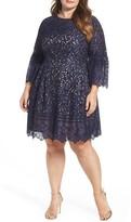 Eliza J Plus Size Women's Lace Bell Sleeve Fit & Flare Dress