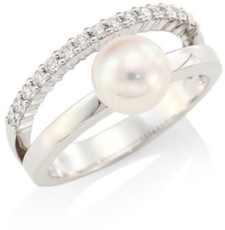Mikimoto Diamond & Pearl 18K White Gold Ring