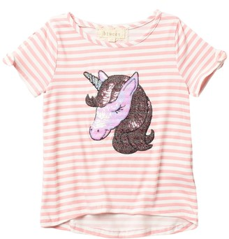 Btween Stripe Unicorn Applique Top (Toddler Girls)