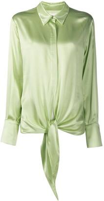 Galvan Lido tie-waist satin shirt