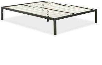 Overstock Full Size Modern Black Metal Platform Bed Frame with Wood Slats