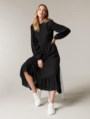 Forever New Betty Long-Sleeve Midi Dress - Black Rustic Spot - 10