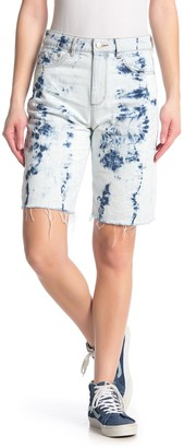 Tractr Acid Wash High Rise Bermuda Shorts