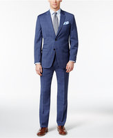 Tommy Hilfiger Men's Slim-Fit Stretch Performance Medium Blue Windowpane Suit