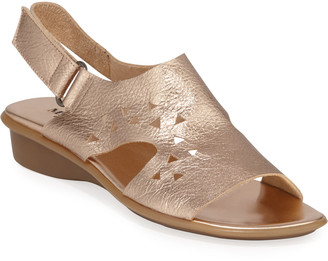 Sesto Meucci Eve Metallic Cutout Demi-Wedge Sandals