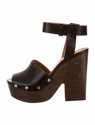 Givenchy Leather Studded Accents Sandals Black