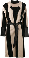 Petar Petrov striped coat - women - Cotton/Lamb Skin - 40
