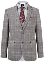 Burton Montague Burton Slim Fit Grey And Burgundy Check Suit Jacket