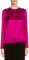 Tom Ford Long-Sleeve Jewel-Neck Blouse, Fuchsia