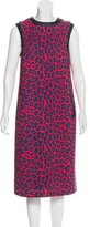 Christopher Kane Leather-Accented Leopard Print Dress