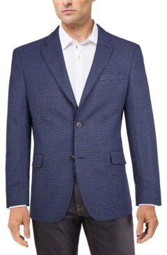 Tommy Hilfiger Men's Modern-Fit Blue/Burgundy Houndstooth Check Sport Coat