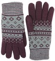 fits accessories argyle jacquard knit gloves chenille lined for women