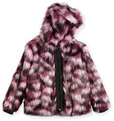 Karl Lagerfeld Hooded Faux-Fur Coat, Pink/Purple, Size 4-5