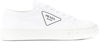 Prada canvas lace-up trainers